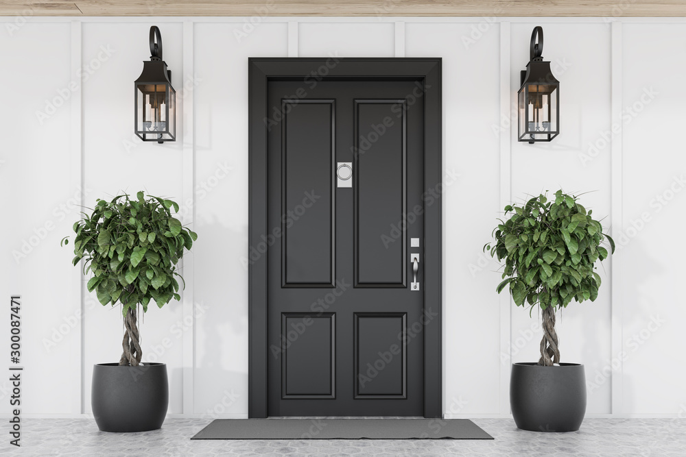Fototapeta Black front door of white house with trees