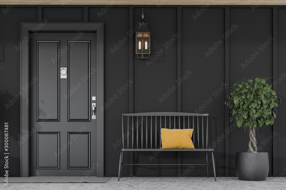 Fototapety, obrazy: Black front door of black house, tree and bench