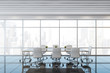 Panoramic white ceiling meeting room interior