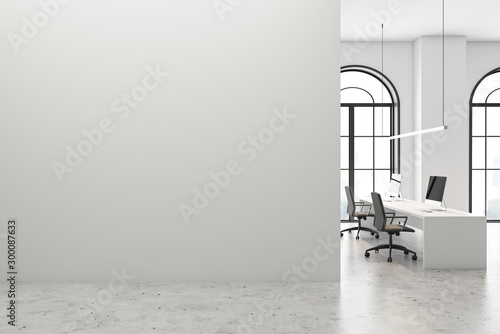 Wall Murals London White open space office with mock up wall