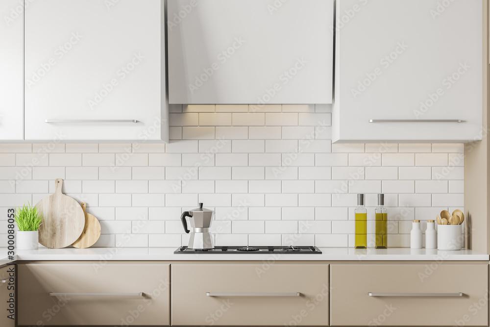 Fototapety, obrazy: Beige kitchen countertops close up