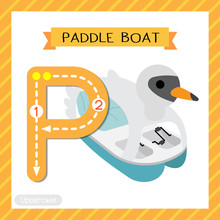 Letter P Uppercase Tracing. Paddle Boat