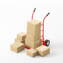 Red Hand Truck With Boxes Over...