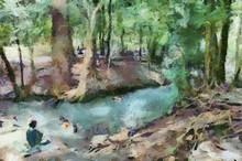 Streams In The Forest Where Tourists Play In The Water Illustration Creating Impressionist Painting.