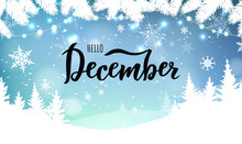 December Word. Hand Lettering Typography With Snowflakes. Vector Illustration As Poster, Postcard, Greeting Card, Invitation Template. Concept February Advertising