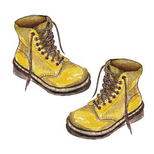 Sketch Of Lether Shoes. Hand Drawn Watercolor  Illustration Of Autumn Boots Isolated On White Background