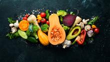 Fresh Seasonal Vegetables On A...