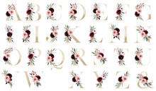 Floral Gold Alphabet, Letters Set With Watercolor Flowers Roses And Leaf. Monogram Initials Perfectly For Wedding Invitation, Greeting Card, Logo, Poster And Other. Holiday Design Hand Painting.
