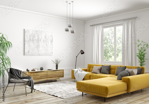 Interior design of modern scandinavian apartment, living room 3d rendering