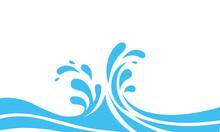 Water Wave Logo Abstract Design. Milk Logotype Concept. Waves Splashing Flat
