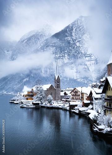Foto auf Leinwand Himmelblau Hallstat village in the Austria. Beautiful village in the mountain valley near lake. Mountains landscape and old town. Travel - Austria