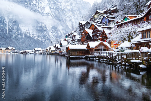 Hallstat village in the Austria. Beautiful village in the mountain valley near lake. Mountains landscape and old town. Travel - Austria - 300096493