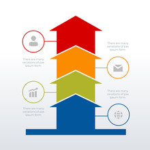 Arrows Up Processed Timeline Infographic Template Design. Business Concept Infograph With 4 Options, Steps Or Processes. Vector Visualization Can Be Used For Workflow Layout, Diagram, Report, Web