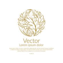Golden Linear Leaf Emblem. Ele...