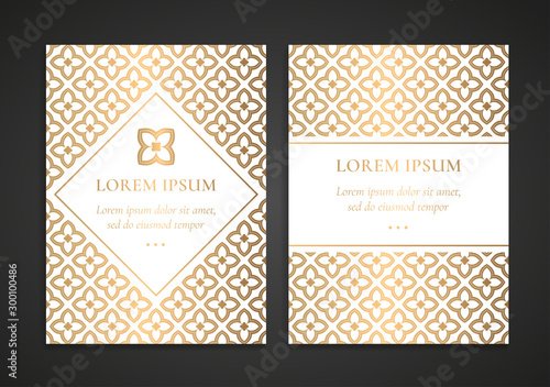 Fototapeta Luxury Invitation Card Design With Gold Geometric Ornament Template Can Be Used For Background And Wallpaper Elegant And Classic Vector