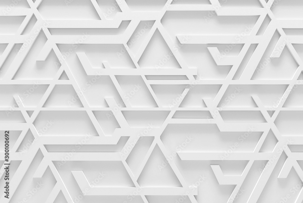 3D Illustration. Abstract white geometric background. 3D interior wall panel pattern.