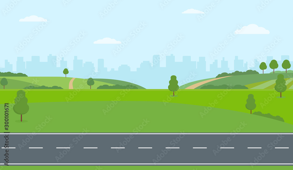 Fototapeta Straight empty road through the countryside on city background. Green hills, blue sky, meadow. Summer landscape vector illustration.