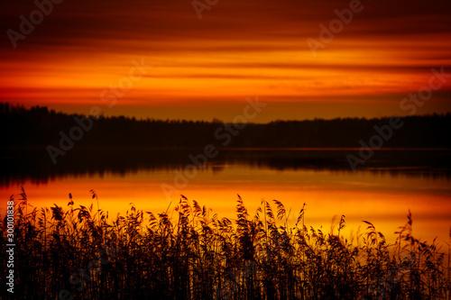 Spoed Fotobehang Oranje eclat Beautiful red sunset in Finland