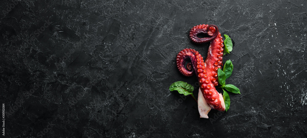 Fototapety, obrazy: Boiled octopus tentacles on a stone plate. Seafood. Top view. Free copy space.