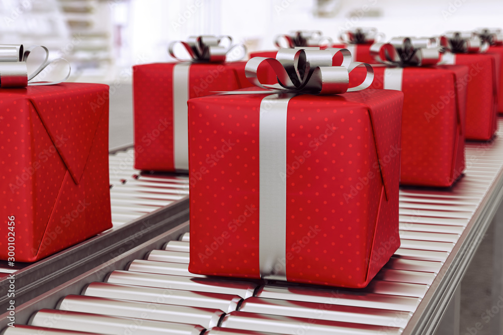 Fototapety, obrazy: Christmas gift boxes on conveyor rollers ready to be shipped by courier for distribution