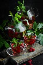 Raspberry And Mint Tea. Hot Wi...