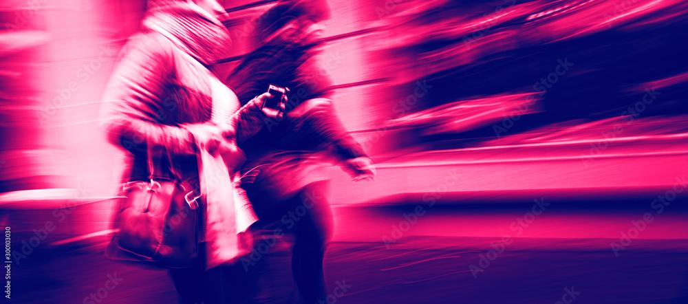 Fototapety, obrazy: Abstract street scene in motion blur.