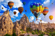 canvas print picture - Colorful hot air balloon flying over Cappadocia, Turkey.