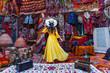 Leinwanddruck Bild - Beautiful girl at traditional carpet shop in Goreme city, Cappadocia in Turkey.