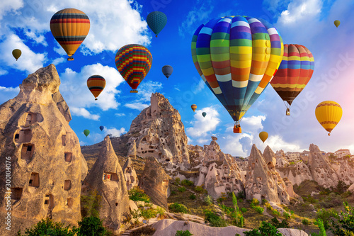 Colorful hot air balloon flying over Cappadocia, Turkey. Slika na platnu