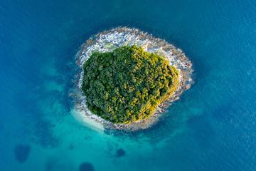 Island on the Adriatic Sea birds eye view.