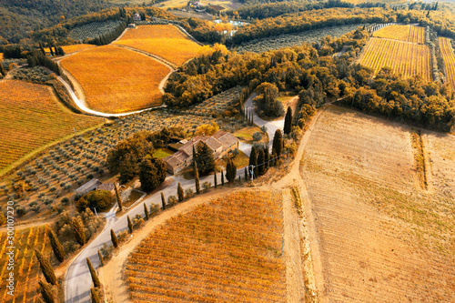 Foto  Aerial view of road in autumn, Chianti region, Tuscany, Italy