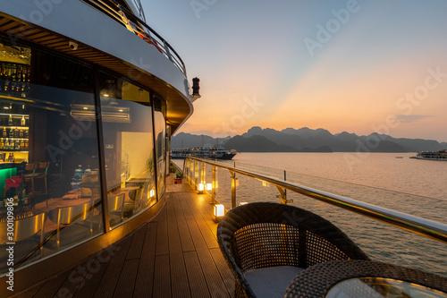 Valokuvatapetti 5 Star luxury on new modern Cruise Ships on Ha Long Bay, Vietnam looking over th