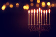 canvas print picture - Religion image of jewish holiday Hanukkah background with menorah (traditional candelabra) and candles
