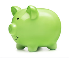 Green Piggy Bank Isolated On White Background