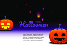 Vector Halloween Card, Jack O Lantern, Pumpkin Head With Space For Your Message