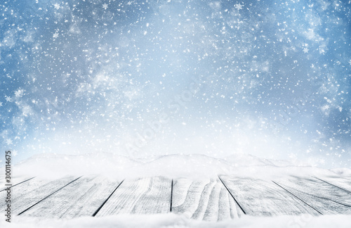 Winter landscape with falling snow.