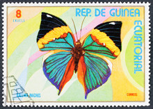 GROOTEBROEK ,THE NETHERLANDS - MARCH 8,2016 : A Stamp Printed In GUINEA Shows Butterfly KALIIMA INAGINUS, Series Butterflies.CIRCA 1974