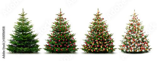 Fotografie, Obraz Glänzend Dekorierter Weihnachtsbaum mit Weihnachtskugeln