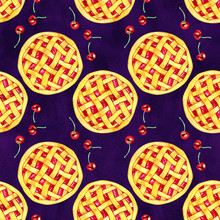 Seamless Pattern With Fragrant Cherry Pie And Berries. Watercolor Illustration.