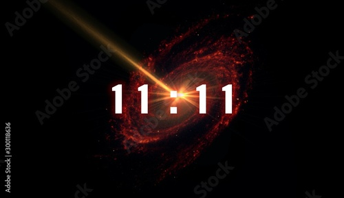 inscription number 11: 11 on the galaxy background. Numbers are the Universal language offered by the deity to humans as confirmation of the truth. - 300118636