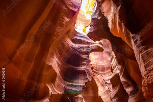 Foto auf Gartenposter Violett rot Sandstone formations in famous Upper Antelope Canyon in Arizona, USA