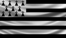Brittany Wave Flag Vector Illustration