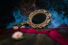 Vintage Mirror On A Black Background