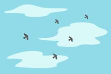Herd Of Flying Birds. Vector I...