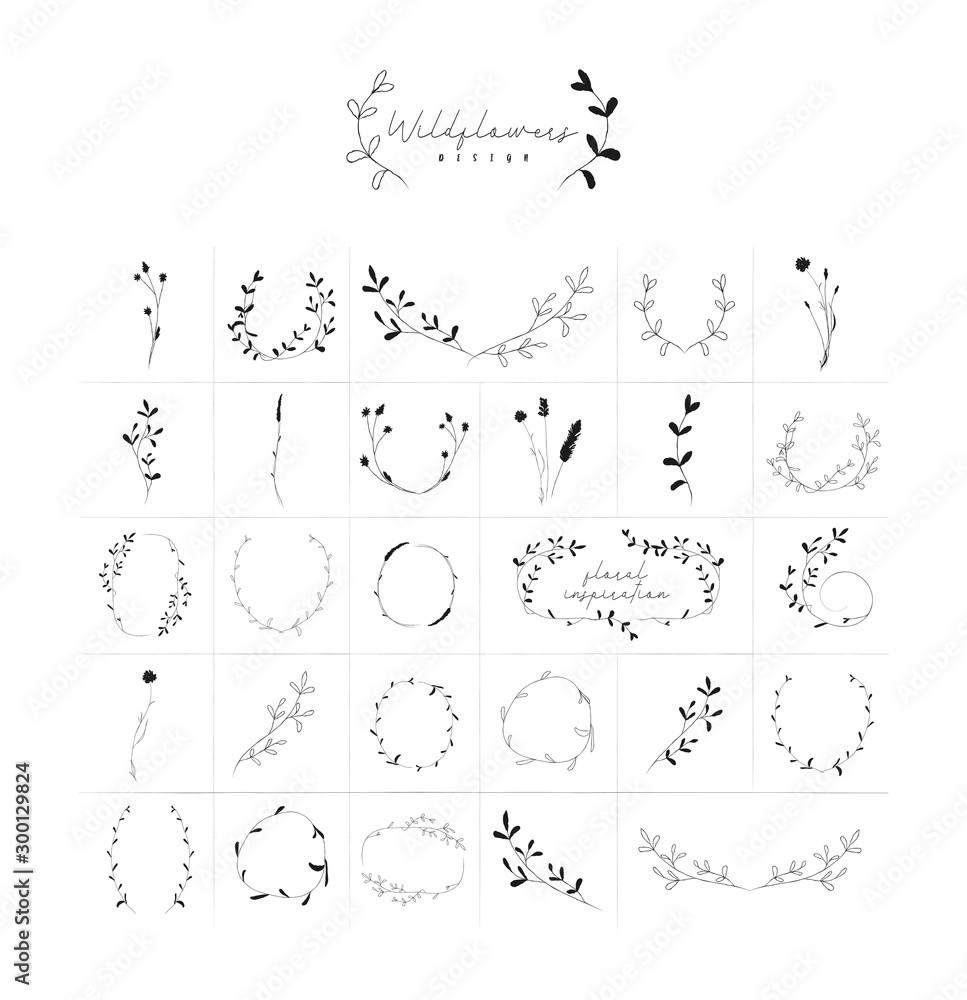 Fototapety, obrazy: Vector Hand Drawn Doodle Floral Frames and Wreaths Collection, with Plants, Branches, Laurels, Flowers, Wildflowers. Design Elements Illustration. Logo Branding