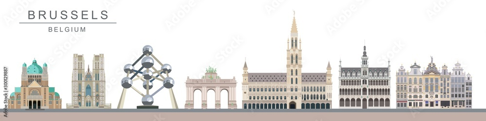 Fototapeta Brussels landmarks and monuments
