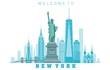New York City skyline in white background. Vector illustration