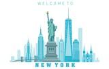 Fototapeta Nowy Jork - New York City skyline in white background. Vector illustration