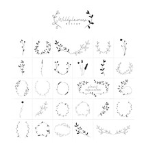 Vector Hand Drawn Doodle Floral Frames And Wreaths Collection, With Plants, Branches, Laurels, Flowers, Wildflowers. Design Elements Illustration. Logo Branding