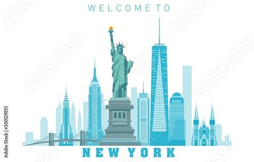 Fototapeta New York City skyline in white background. Vector illustration obraz